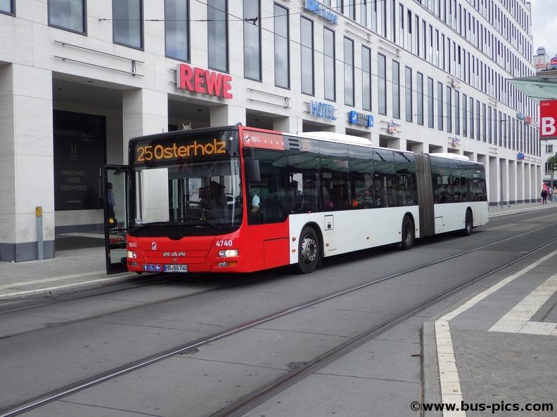 Hauptbahnhof -- Linie 25 -- BSAG 4740   Bus Pictures
